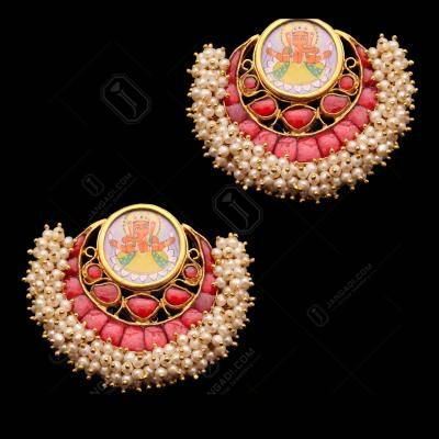 GOLD PLATED HAND PAINTING CHANBALI GANESHA RED ONYX AND PEARL BEADS DROPS EARRINGS