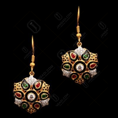 GOLD PLATED CZ AND GREEN HYDRO HANGING EARRINGS