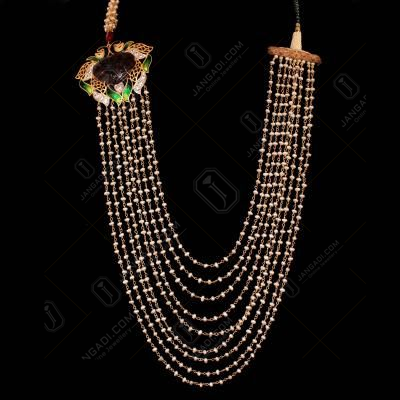 GOLD PLATED ENAMEL CZ AND KUNDAN WITH PEARL BEADS NECKLACE