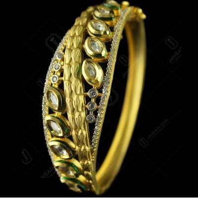 Gold Plated lock bangle Studded Semi Precious Stones
