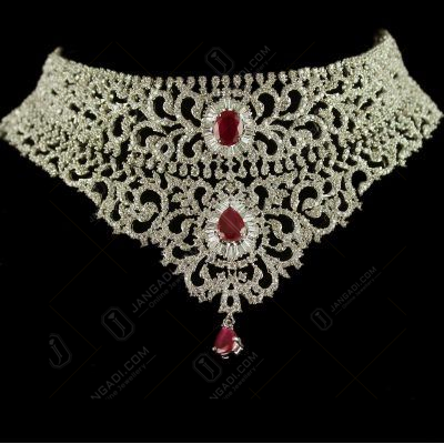 92.5 Sterling Silver Chocker Necklace Studded Zircon Stones And Ruby