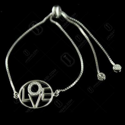 Trendy 92.5 Silver Letter Bracelet Studded White Zircon Stones