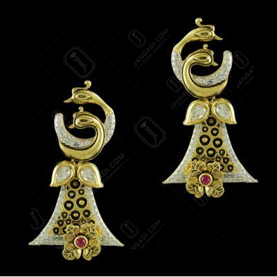 Gold Plated Floral  Earrings Studded Semi Precious Stones