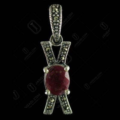 92.5 Sterling Silver Fancy Design Pendant Studded Cristel And Ruby Stone