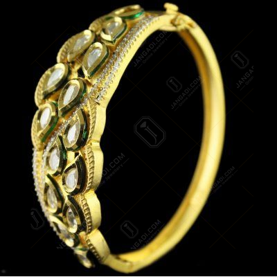 Gold Plated lock bangle Studded Semi Precious Stones