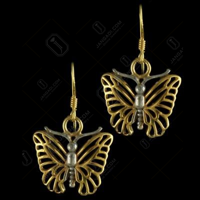 92.5 Sterling Silver Gold Plated Fancy Design Hanging Earring
