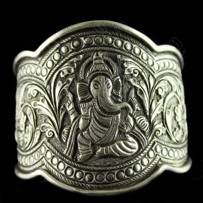 92.5 Sterling Silver Oxizided  Antique God Ganesha  Design Kada Bangle