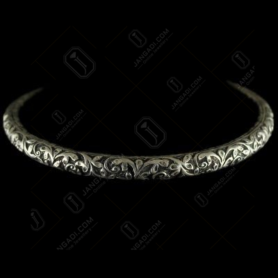 92.5 Sterling Silver Oxizided  Antique Design Kada Bangle