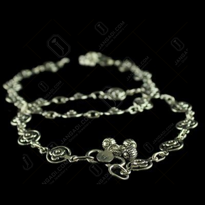 Oxisided Antique Floral  Design Anklets