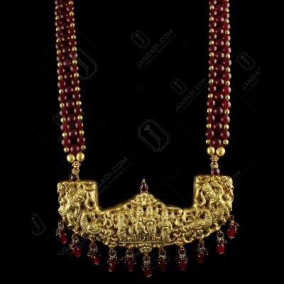SILVER Gold Plated Lakshmi Necklace Semi Precious Stones