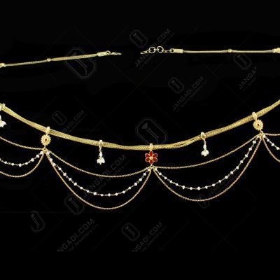 Silver Gold Plated  Fancy Design Odiyanam Studded Kundan And Pearls Stones