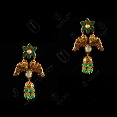 Silver Gold Plated Peacock Design Earrings Studded Rice Pearl And Green  Beads