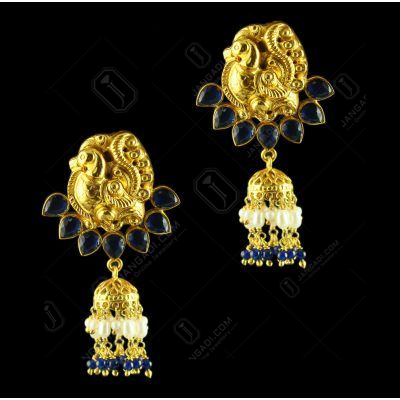Gold Plated Floral Earring Drops studded Semi Precious Stones