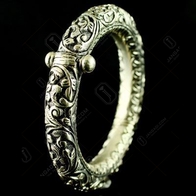Silver Oxidized Antique Design Kada And Screw Bangle
