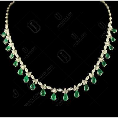 Silver Swarovski Zirconia Green Stone Necklace