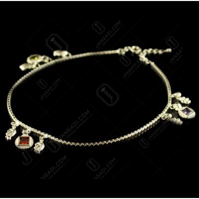 Silver Fancy Design Enamel Anklets