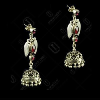 Silver Oxidized Fancy Hanging Earrings