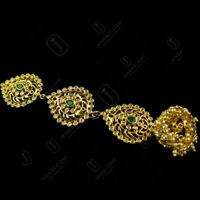 Silver Gold Plated head Tikka Studded Zircon And Green Onyx Stones
