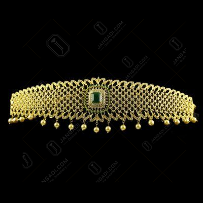 Silver Gold Plate Fancy Design Oddiyanam Studded Zircon Stones And Green Onyx