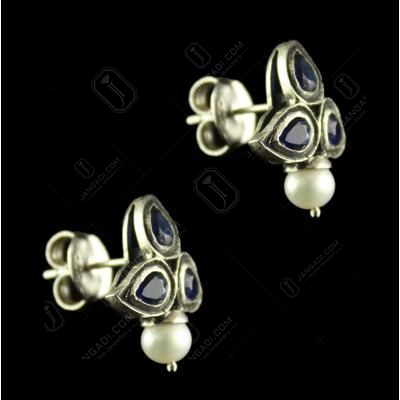 Silver Plated Fancy Design Earrings White Pear Pearl Round 4.5mm
