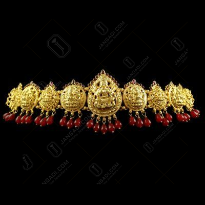 Silver Gold Plated God Design Oddiyanam Red Onyx Stones