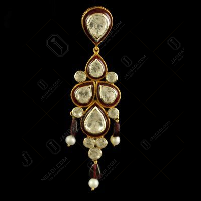 Silver Plated Fancy Design Tikka With Polki Stones