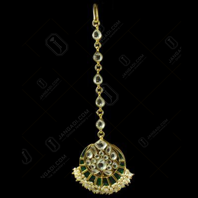 Silver Plated Fancy Design Nethi Chutti and Tikka  kuddan Green Onyx With Pearl