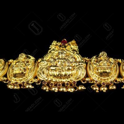 Silver Gold Plated God Design Ottiyanam Studded Red Onyx Stones