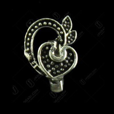 Silver Oxidied Fancy Design Noise Pin