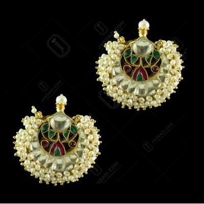 Silver Gold Plated Kuddan Stone Green Onyx Red Onyx With Pearl Earring