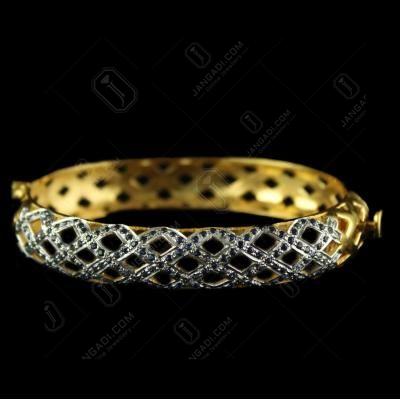 Silver Gold Plated Zircon Stone Screw Bangles