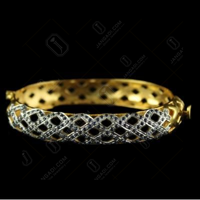 Silver Gold Plated Zircon Stone Screw Bangles