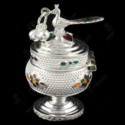 Silver Floral Design Kumkum Box