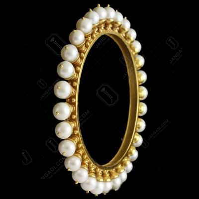 Silver Gold Plated  Bangle With Pearl