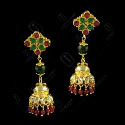 Silver Gold Plated Fancy Design Earring Jhumka Studded Red Onyx,Green Ounx And Red Beats