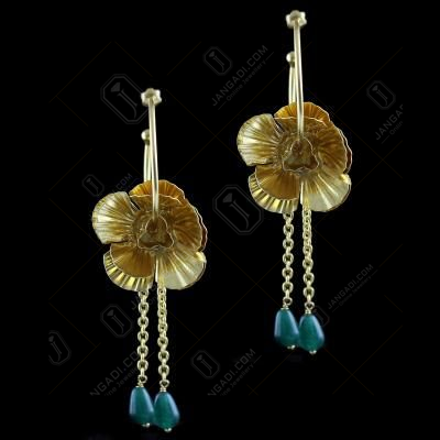 Gold Plated Bali Earring With Green Beads