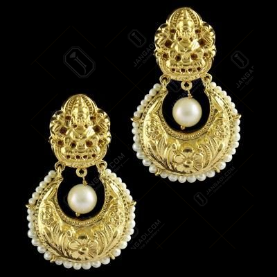 Silver Gold Plated Chandbali Design Drops Earring Pearls