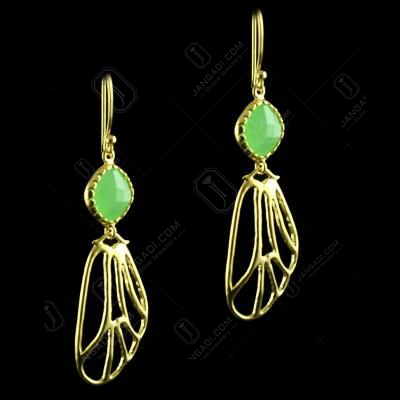 Silver Gold Plated Hanging Earring Studded Chalcedony Stones