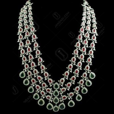 92.5 Sterling Silver Zircon Stone Necklace