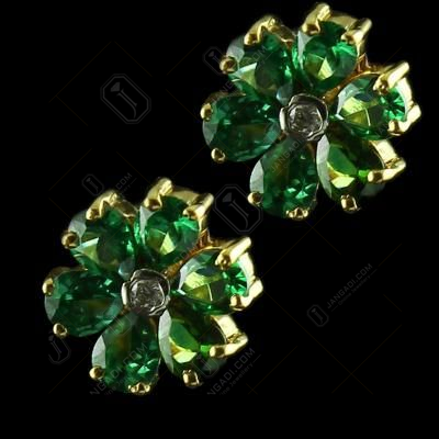 Gold Plated Gold Plated Six Leaf Floral Earrings Studded Semi Precious Stones