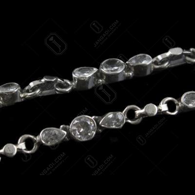 Silver Fancy Design Anklets Studded Multi stones