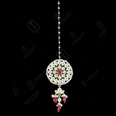 Silver Fancy Design Tikka Kundan Design Red Onyx And Pearls