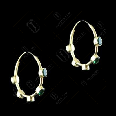 Silver Gold Plated Bali Earring Studded Green Onyx Stones