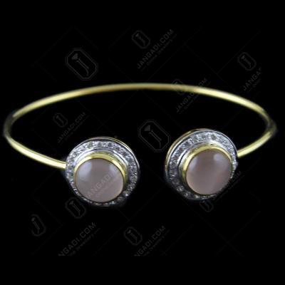 Gold Plated Cuff Bangle Pink Onyx Stones