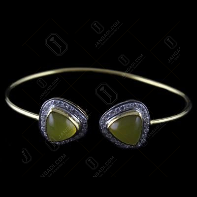 Gold Plated Cuff Bangle Blue Onyx And Zircon Stones