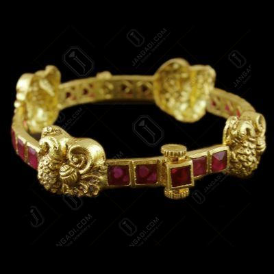 Gold Plated Antique Design Bangle Red Onyx Stones