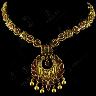 Gold Plated Antique Design Ruby And Green Onyx Stones