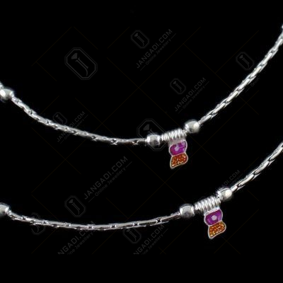 Silver Fancy Design Anklets