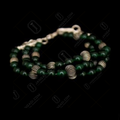 SILVER AND GREEN ONYX BRACELETS