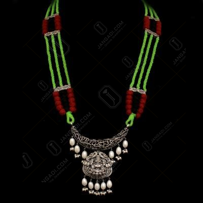 OXIDIZED SILVER LAKSHMI NAKASH AND PEARL BEADS THREAD NECKLACE